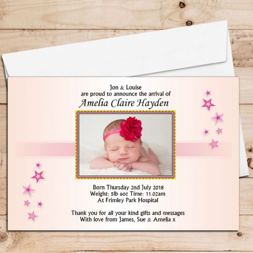 10 Personalised Baby Girl Birth Announcement Thank You PHOTO Cards N18